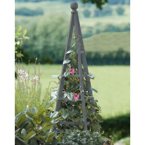 Smart Garden Slate Grey Wooden Woodland Obelisk 1.9m Plant Support Pine Pergola