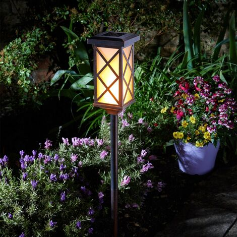 Smart Garden Solar Arezzo Cool Flame Torch Light Stake Bollard Lantern LED