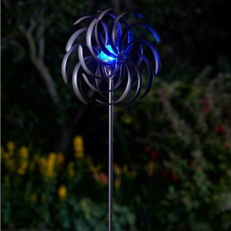 Smart Garden Solar Spiro Light Wind Spinner Windmill Garden LED Colour Changing