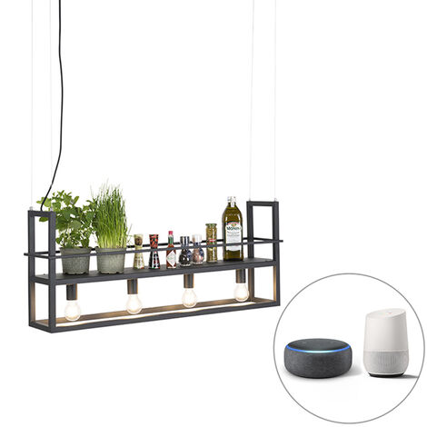 Smart hanging lamp black incl. WiFi A60 light sources - Cage Rack