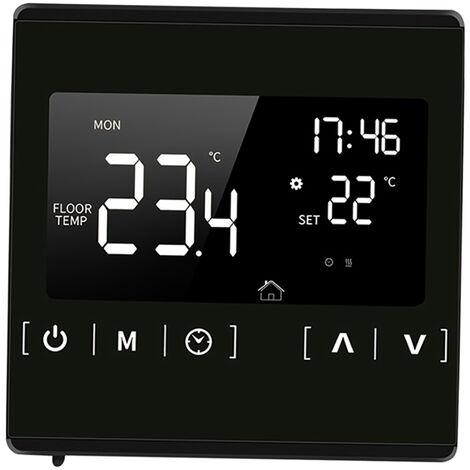 Smart Lcd Thermostat A Ecran Tactile Pour La Maison Electrique Programmable Systeme De Plancher Chauffant Eau Chauffage Thermoregulator Ac 85-250V Regulateur De Temperature, Noir