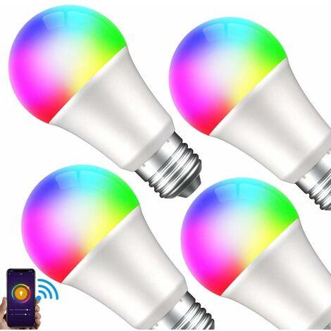 Smart Lot de 4 ampoules LED à variation de couleur blanc chaud E27 2700 K 8 W équivalent 75 W 800 lm sans hub Compatible avec Alexa et Google Assistant [Classe énergétique A+]