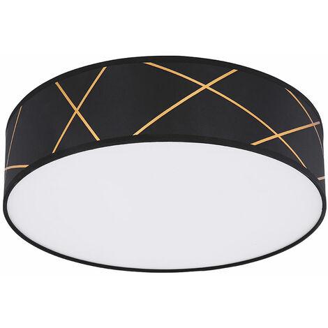 Smart plafón LED regulable 40 cm plafón aplicación cambio de color plafón plafón pantalla textil, líneas decorativas oro negro, 3x 5w 3x 470 2700 -6400K, DxH 40x12 cm