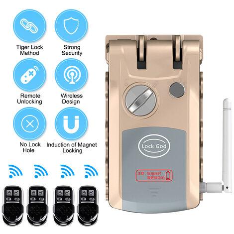 Smart Remote Control Lock Antifurto invisibile Sicurezza domestica Supporto per serratura Interruttore telecomando, grigio oro, con 4 telecomandi