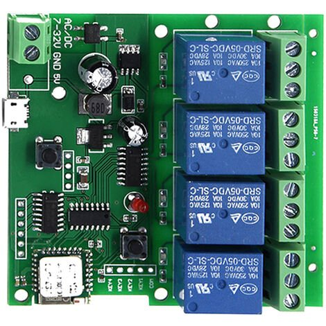 Smart Remote Control Wireless Switch Universal Module 4CH-5V/7-32V 1PCS Green