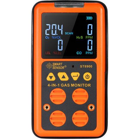 SMART SENSOR Detector de gas 4 en 1, monitor de H?S y CO
