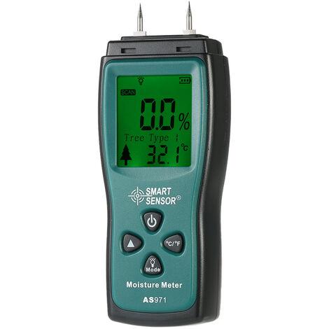 SMART SENSOR Mini medidor de humedad de madera de mano, rango de sonda de 2 pines 2%, 70%