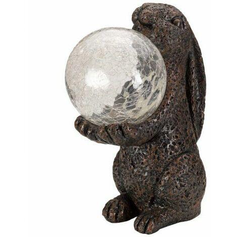 Smart Solar Garden Magic Hare / Rabbit holding Colour Changing LED Ball Light