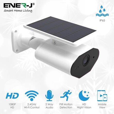 Smart Solar Security Camera Outdoor Rechargeable Battery Wireless 1080p CCTV IP Camera with Color Night Vision, Weatherproof, PIR Motion Sensor