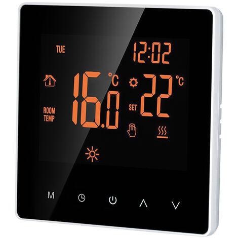 Smart Thermostat Digital Temperature Controller LCD DisplayTouch Screen, Orange, No Wi-Fi