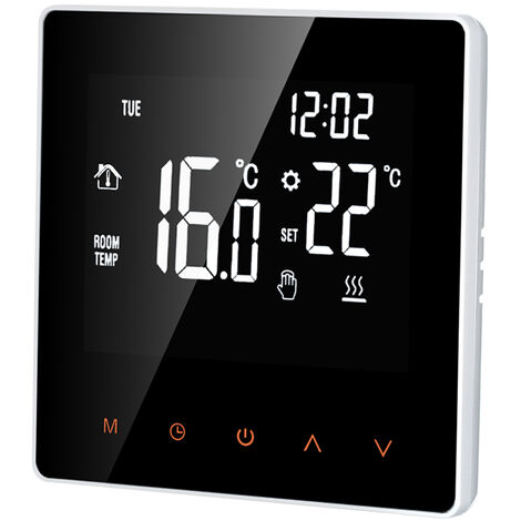 Smart Thermostat Digital Temperature Controller LCD DisplayTouch Screen, White, No Wi-Fi