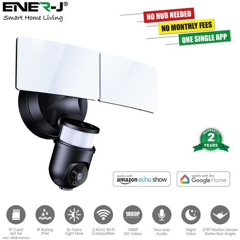 """main image of """"Smart Twin LED Floodlight with 1080P Security Camera, Black Body"""""""