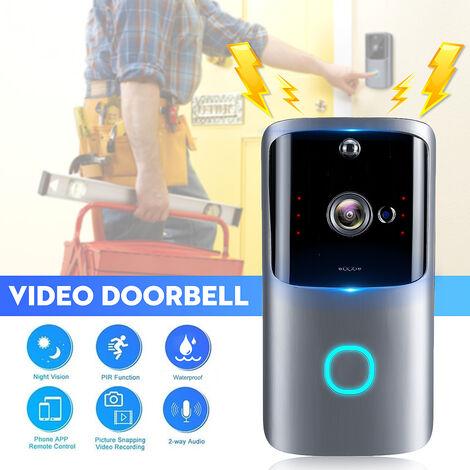 Smart Vidéo HD Sonnette 1080P Sans Fil WiFi Interphone Visuel Gris
