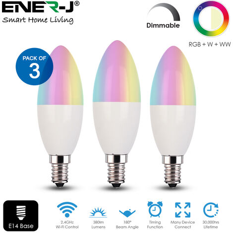 Smart WiFi Candle Bulb, E14 Base, RGB+CCT Changing & Dimmable via APP (3pc pack)