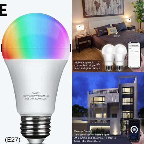 Smart WiFi Glühbirne LED RGB Farbe Glühbirne funktioniert mit Alexa Echo Google Home 2 Packung