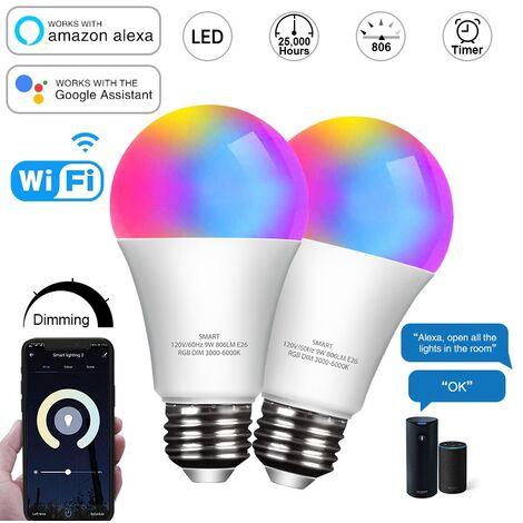 Smart WiFi Glühbirne LED RGB Farbe Glühbirne funktioniert mit Alexa Echo Google Home