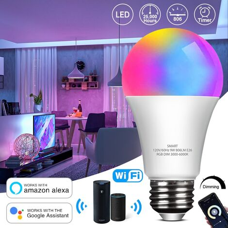 Smart WiFi Light Bulb LED RGB Color Changing Dimmable Light Bulb Works with Alexa Echo Google Home
