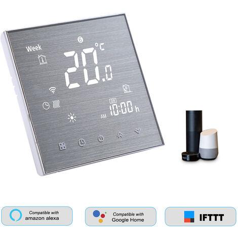 Smart WiFi Thermostat de l'eau / gaz chaudiere Regulateur de temperature numerique Grand ecran LCD tactile Bouton de commande vocale, GCLW, blanc
