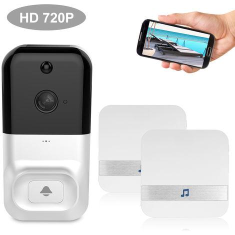 Smart Wireless WiFi de seguridad del timbre, HD 720P, con 2 Baterias y Timbre, BLANCO