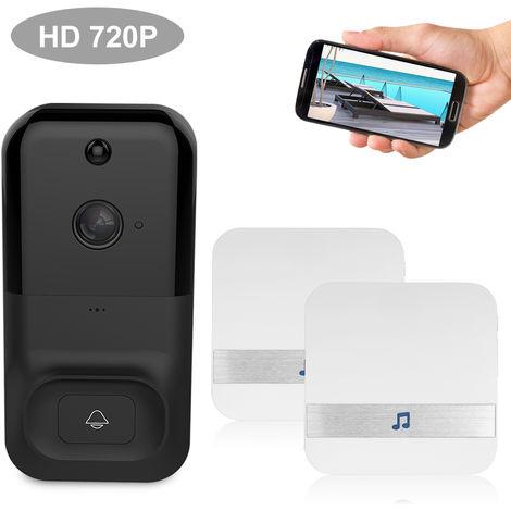 Smart Wireless WiFi de seguridad del timbre, HD 720P, con 2 Baterias y Timbre, NEGRO