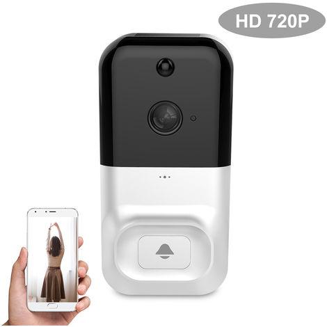 Smart Wireless WiFi de seguridad del timbre, HD 720P intercomunicador visual de grabacion de video, BLANCO