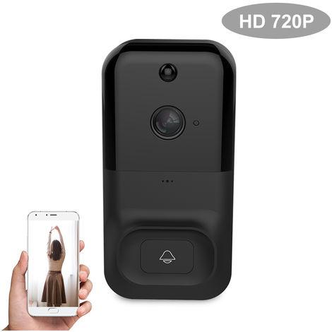 Smart Wireless WiFi de seguridad del timbre, HD 720P intercomunicador visual de grabacion de video, NEGRO