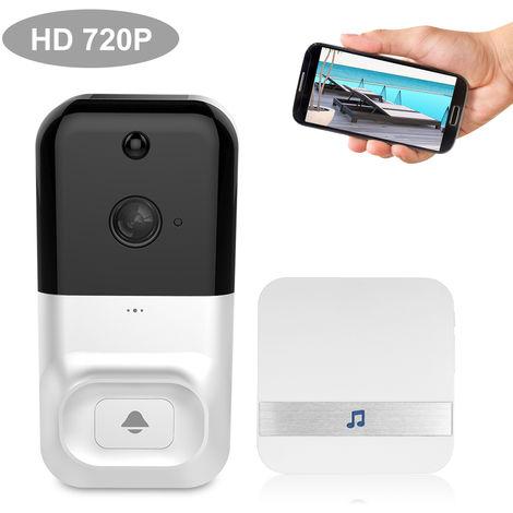 Smart Wireless WiFi de seguridad del timbre, HD 720P, sin Baterias y Timbre 1, BLANCO
