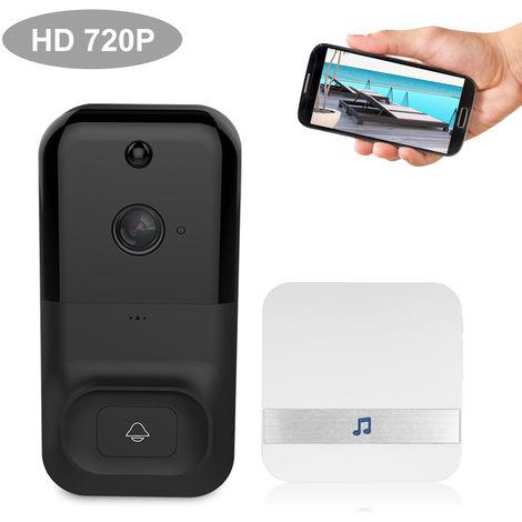 Smart Wireless WiFi de seguridad del timbre, HD 720P, sin Baterias y Timbre 1, NEGRO