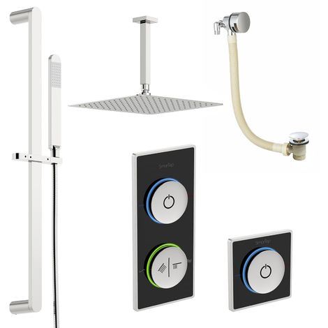 SmarTap black smart shower system with complete square ceiling shower bath set