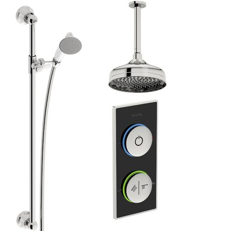 SmarTap black smart shower system with traditional slider rail and ceiling shower set
