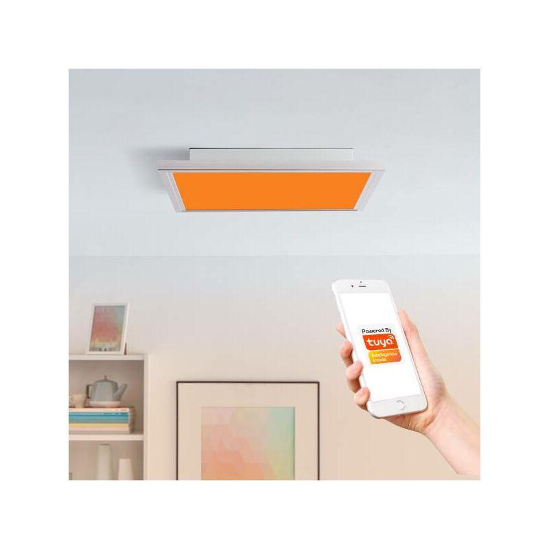 Smarte LED Panel Deckenleuchte per Tuya App steuerbar, mit RGB-Farbwechsellicht, 40x40cm, 29 Watt aus Metall / Kunststoff in nickel-'LB00001459'