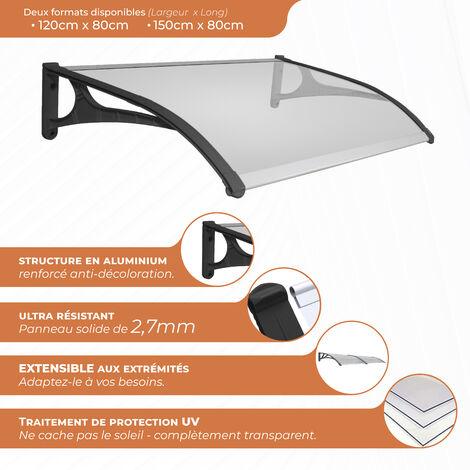 SmartSun Marquise Evoke aluminium 120x80cm. Epaisseur extra r�sistante de 7,2 mm. Auvent de porte
