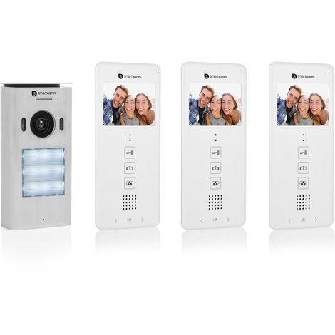 """Système d'interphone vidéo Smartwares DIC-22132 – 480p – Écran LCD de 3,5"""" (8,9 cm) – Caméra panoramique / inclinaison à 15° – Facile à installer – Étanche – 12 mélodies – Vision nocturne – Kit pour 3 appartements"""