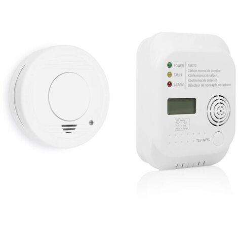 Smartwares® Ensemble de protection contre l'incendie comprenant un détecteur de fumée et de CO avec affichage LCD