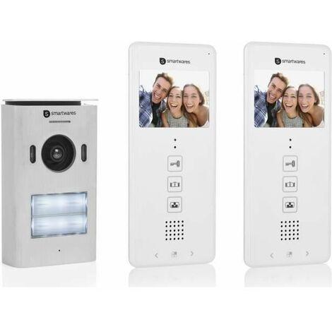 SMARTWARES Interphone vidéo 2 fils pour 2 appartements avec écran 3,5 tactile DIC-22122