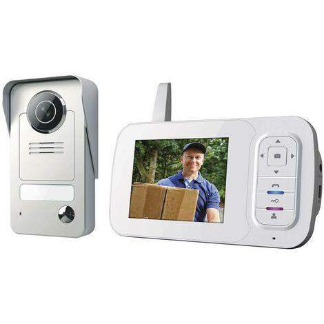 Smartwares® VD38W Interphone visiophone sans fil avec écran portable et caméra à vision nocturne
