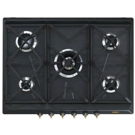 Smeg SRV876AOGH Piano di Cottura, 70cm, 5 Zone di Gas, 12.1kW, 220-240V AC,  50/60Hz, Antracite