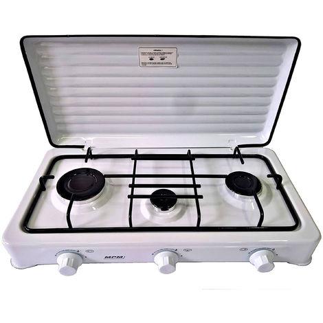 SMILE KN-03/1K - Cocina de Gas Portátil para camping, Hornillo Portátil, 3 quemadores ajustables, Tapa Desmontable blanco