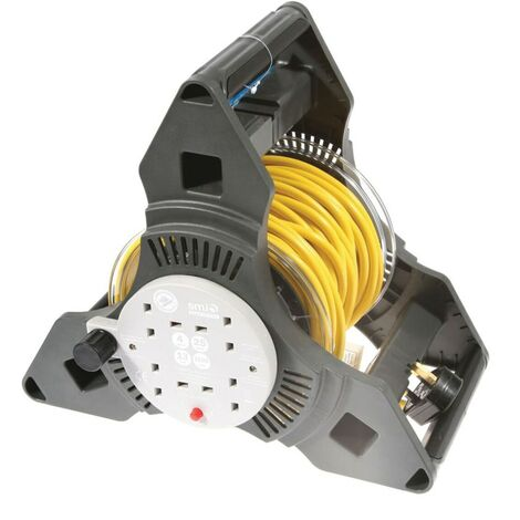 SMJ TP2513 Cable Reel Tri Pro 4-Gang 13AMP 25MTR Lead Thermal Cut-out