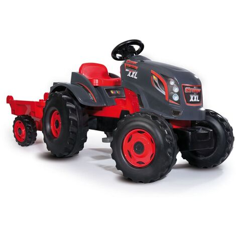 Smoby Kids Tractor and Trailer Stronger XXL Red and Black - Red