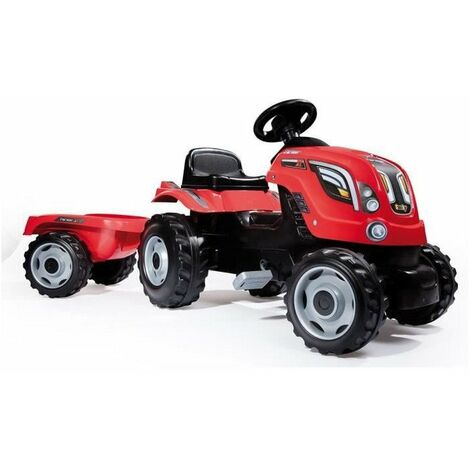 SMOBY Tracteur a pedales Farmer XL Rouge + Remorque