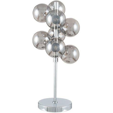 Smoke Glass Orb and Chrome Table Lamp