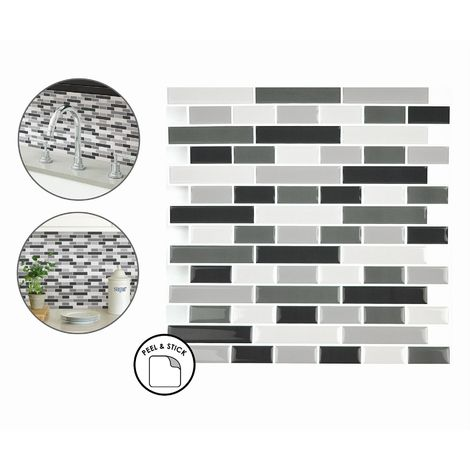 Smoked Glass Backsplash Tiles Peel & Stick 4pcs White Grey Black Wall Stickers