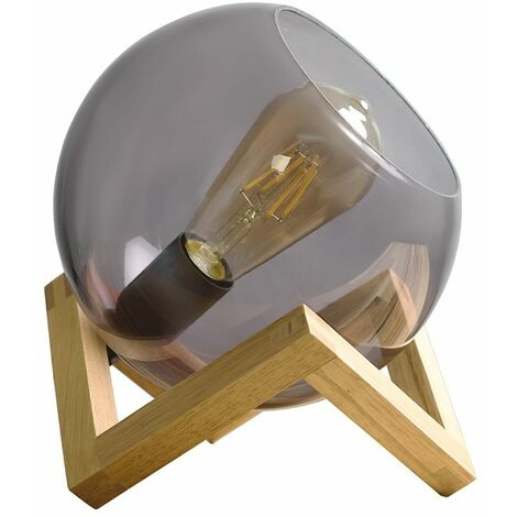 Smoked Glass Globe Bedside Table Lamp On A Wooden Frame Base + 4W LED Filament Bulb - Warm White