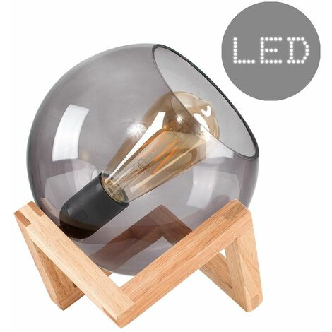 Smoked Glass Globe Bedside Table Lamp On A Wooden Frame Base + 4W LED Filament Gls Bulb - Warm White