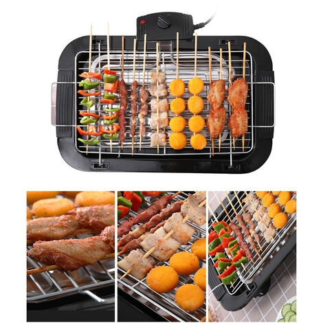 Smokeless Electrique Grill Portable Grill Cuisine Bbq Tabletop Grills Reglable Controle De La Temperature 2000W, Noir