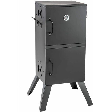 Smoker with temperature display - bbq smoker, barbecue smoker, smoker grill - black