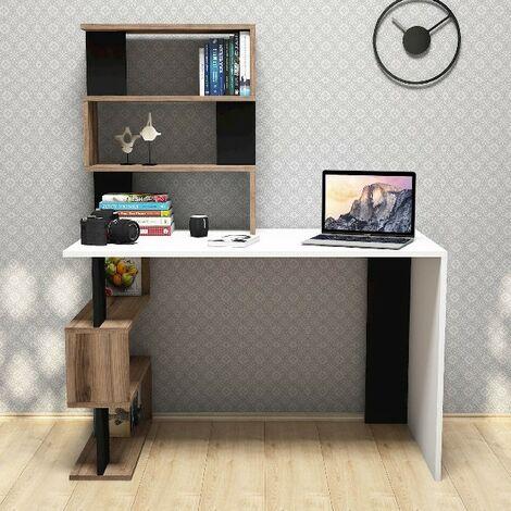 Snap Schreibtisch - mit integriertem Buecherregal, Regale - vom Atelier, Raum - Weiss, Nussbaum, Schwarz aus Holz, PVC, 120 x 60 x 148,2 cm