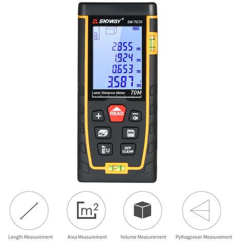 SNDWAY Handheld Digital Laser Distance Meter Portable Mini Range Finder High-precision Rangefinder with 30 Groups Data Storage LCD Display Backlight 2 Bubble Levels Diastimeter Distance Area Volume Measurement (70m)