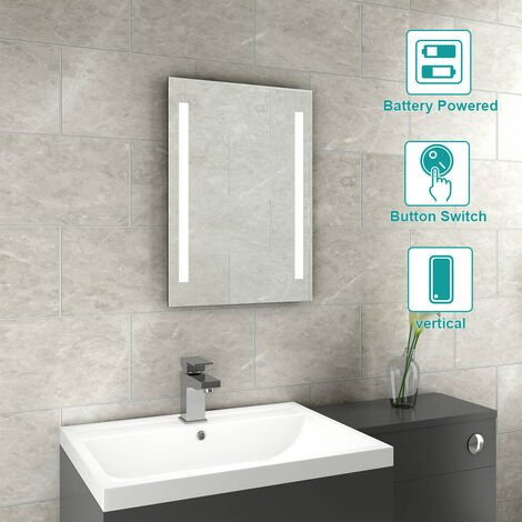 Snow 500 x 700mm Bathroom Battery Powered Illuminated LED Mirror(Type S)